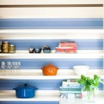 doherty lynch kitchen close up striped walls floating shelves cococozy
